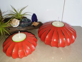 Mangowood Tealight Holders - Double Red  * Clearance*